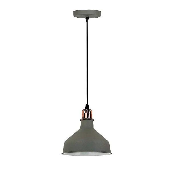 PENDENTE Quality Iluminação QPD1155-CZ Industrial Meia Esfera Estilo Antigo CINZA 1XE27 40W 19X17CM Sala de Jantar Quarto e Cozinha
