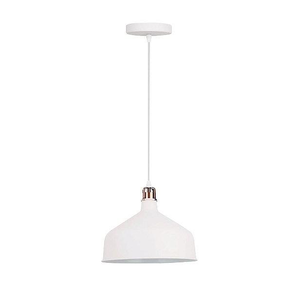 PENDENTE Quality Iluminação QPD1156-BR Industrial Meia Esfera Estilo Antigo BRANCO 1XE27 40W 30X25CM Sala de Jantar Quarto e Cozinha
