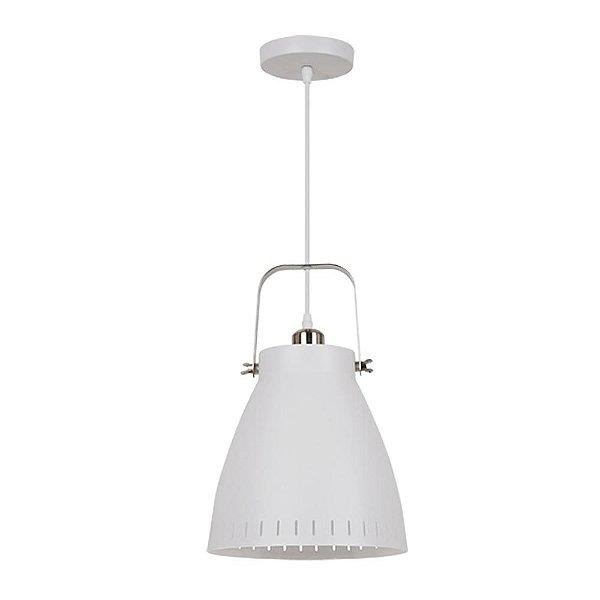 PENDENTE Quality Iluminação QPD1158-BR Industrial Estilo Antigo Sino BRANCO 1XE27 40W 17X18CM Sala de Jantar Quarto e Cozinha