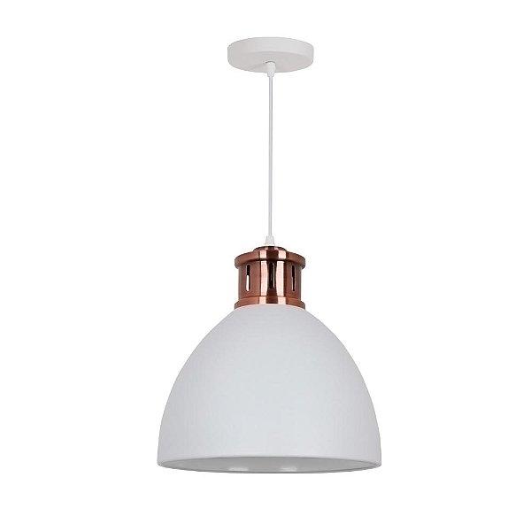 PENDENTE Quality Iluminação QPD1161-BR Industrial Estilo Antigo Meia Esfera Alumínio BRANCO 1XE27 40W 30X33,5CM Sala de Jantar Quarto e Cozinha