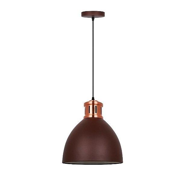 PENDENTE Quality Iluminação QPD1161-MR Industrial Estilo Antigo Meia Esfera  Alumínio MARROM 1XE27 40W 30X33,5CM Sala de Jantar Quarto e Cozinha