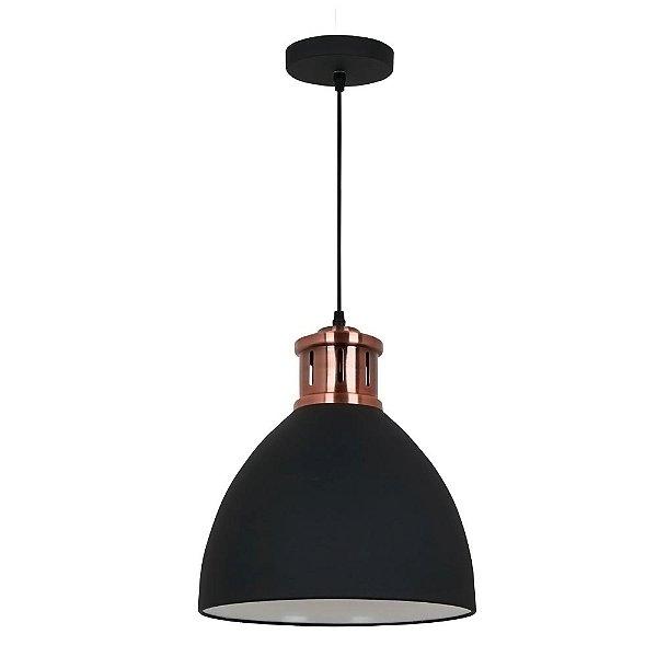 PENDENTE Quality Iluminação QPD1161-PT Industrial Estilo Antigo Meia Esfera  Alumínio PRETO 1XE27 40W 30X33,5CM Sala de Jantar Quarto e Cozinha