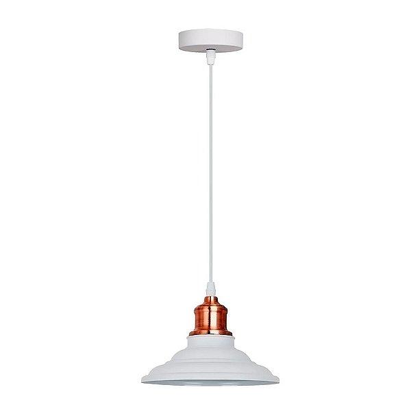 PENDENTE Quality Iluminação QPD1163-BR Industrial Estilo Antigo Chapéu Alumínio BRANCO 1XE27 40W 20X16CM Sala de Jantar Quarto e Cozinha