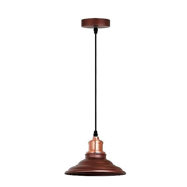 PENDENTE Quality Iluminação QPD1163-MR Industrial Estilo Antigo Chapéu  Alumínio MAROM 1XE27 40W 20X16CM Sala de Jantar Quarto e Cozinha