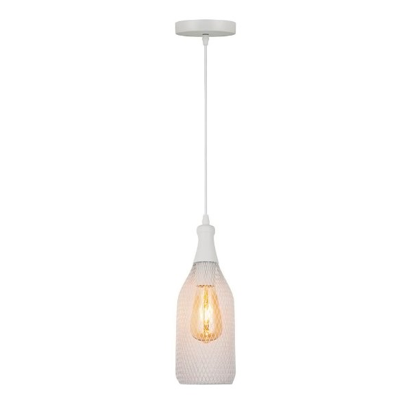 PENDENTE Quality Iluminação QPD1180-BR Aramado Estilo Antigo Filamento Vertical Alumínio BRANCO 1XE27 40W 12X31,5CM Sala de Jantar Quarto e Cozinha