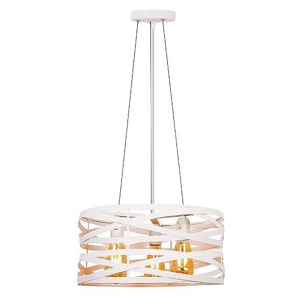 PENDENTE Quality Iluminação QPD1181-BR Redondo Esfera Filamento Trançado BRANCO 3XE27 40W 40X19,5CM Sala de Jantar Quarto e Cozinha