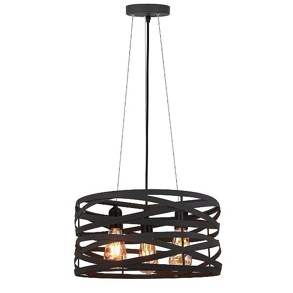 PENDENTE Quality Iluminação QPD1181-PT Redondo Esfera Filamento Trançado PRETO 3XE27 40W 40X19,5CM Sala de Jantar Quarto e Cozinha