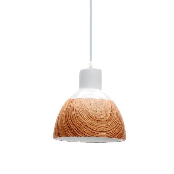 PENDENTE Quality Iluminação QPD1207 Meia Esfera Industrial CERAMICA Madeira Branco 1XE27 40W 21X21CM Sala de Jantar Quarto e Cozinha