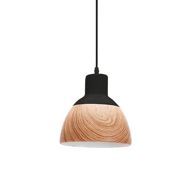PENDENTE Quality Iluminação QPD1208 Meia Esfera Industrial  CERAMICA PRETO MADEIRA 1XE27 40W 21X21CM Sala de Jantar Quarto e Cozinha