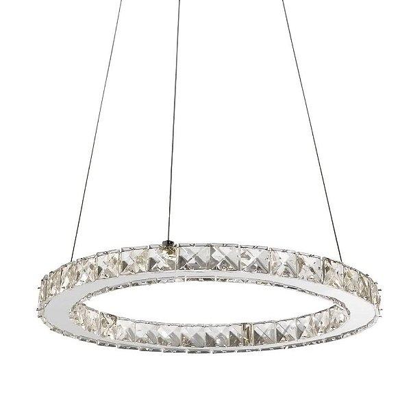 PENDENTE Quality Iluminação QPD1223 Lustre Redondo Esfera Cristal Moderno LED 18W 4000K 40X2,4CM Sala de Jantar Quarto e Cozinha
