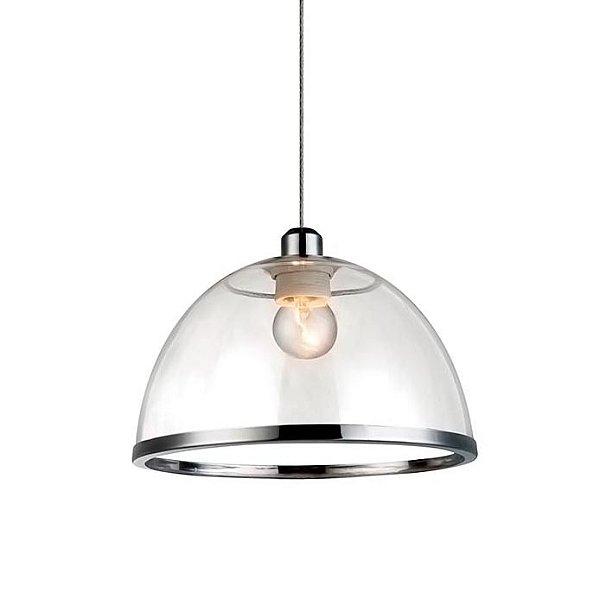 PENDENTE Quality Iluminação QPD1226-CR Meia Esfera Prismatica Filamento ACRILICO CROMADO 1XE27 40W 23X15CM Sala de Jantar Quarto e Cozinha