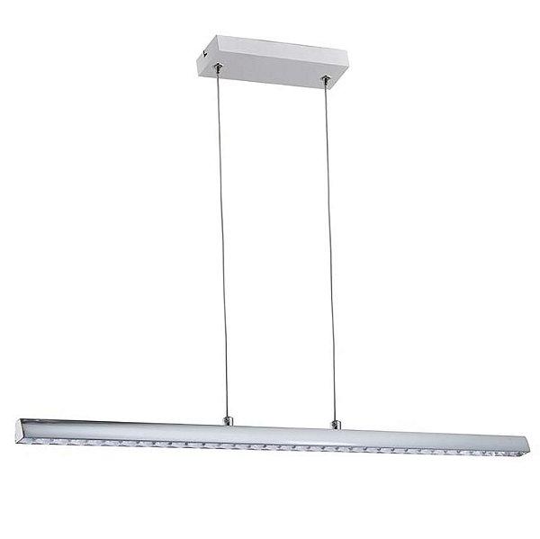 PENDENTE Quality Iluminação QPD1278-CR CRISTAL Lustre Retangular LED 12W 4000K CROMADO 60,5X10X4CM Sala de Jantar Quarto e Cozinha