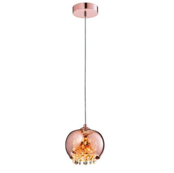 PENDENTE Quality Iluminação QPD1279-CO Redondo Esfera Esfera Cristal VIDRO COBRE 1XG9 40W 13X15CM Sala de Jantar Quarto e Cozinha