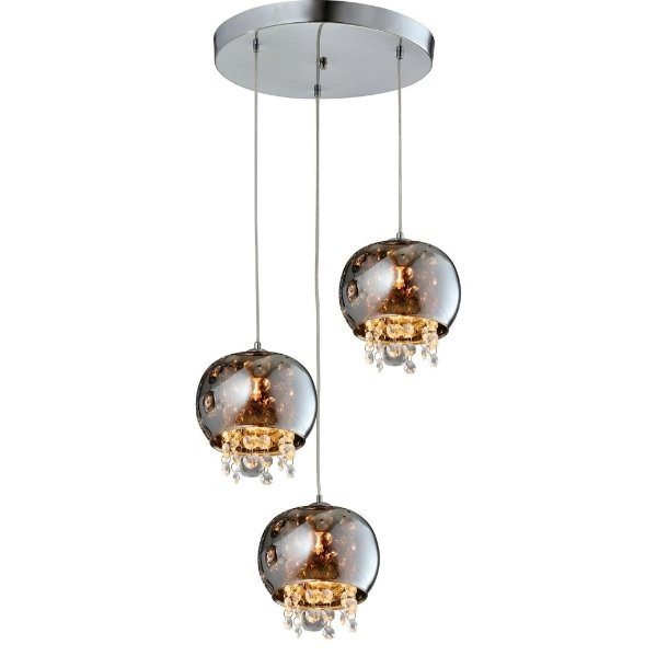PENDENTE Quality Iluminação QPD1280-CR Triplo Redondo Esfera Esfera Cristal VIDRO CROMADO 3XG9 40W 32X15CM Sala de Jantar Quarto e Cozinha