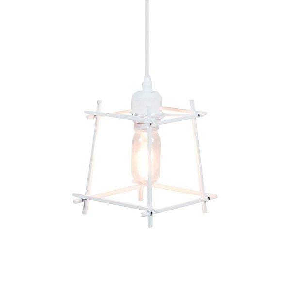 PENDENTE Quality Iluminação QPD1284-BR Aramado Estilo Antigo Filamento BRANCO 1XE27 40W 17X17CM Sala de Jantar Quarto e Cozinha