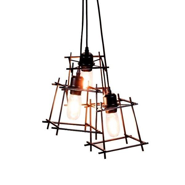 PENDENTE Quality Iluminação QPD1285-PT Triplo Aramado Estilo Antigo Filamento PRETO 3XE27 40W 31X40CM Sala de Jantar Quarto e Cozinha