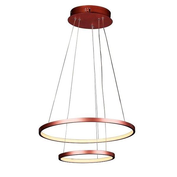 PENDENTE Quality Iluminação QPD1301-CO Lustre Redondo Esfera Cristal Duplo LED 40W 3000K COBRE 50/30X2CM Sala de Jantar Quarto e Cozinha