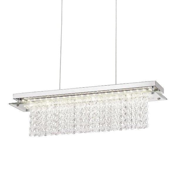 PENDENTE Quality Iluminação QPD888 Retangular CRISTAL VIDRO LED 18W 4000K CROMADO Sala de Jantar Quarto e Cozinha