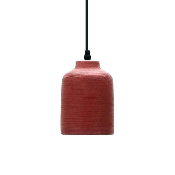 PENDENTE Quality Iluminação QPD913-TE Vertical CERÂMICA CONCRETO TERRACOTA 1XE27 40W  Ø11X16CM Sala de Jantar Quarto e Cozinha