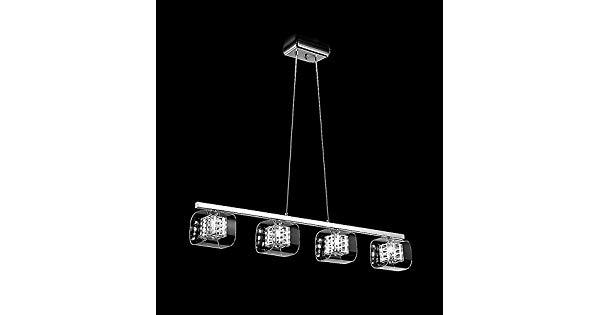PENDENTE Trilho Newline Imports 175-CR CUBE Retangular Alumínio Cristal K9 Vidro 4XG9 98X17CM Sala de Jantar Quarto e Cozinha