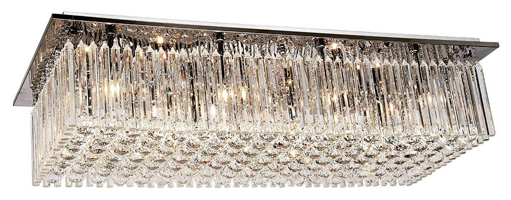 PLAFON Newline Imports ASTA 163-CR Retangular Inox Cristal K9 Cristal K9 K9 10XG9 90X40CM Sala Quarto e Cozinha
