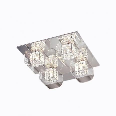PLAFON Newline Imports CUBE 171-CR Alumínio Cristal K9 Vidro 4XG9 42X42CM Sala Quarto e Cozinha