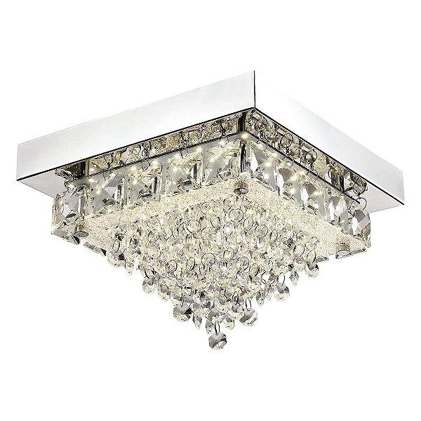 Plafon Quality Iluminação QPL880 Lustre Quadrado CRISTAL LED CROMADO 12W 4000K  22X22X16CM Sala Quarto e Cozinha