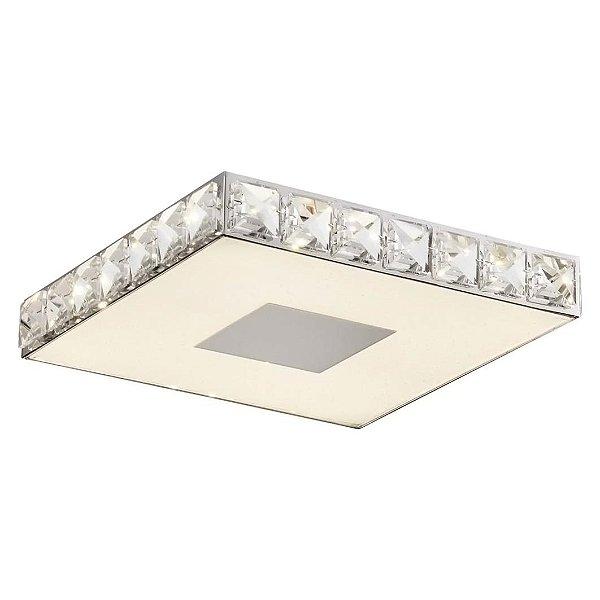 Plafon Quality Iluminação QPL885 Lustre Quadrado CRISTAL VIDRO LED 12W 4000K CROMADO 27X27X4,2CM Sala Quarto e Cozinha