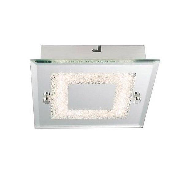 Plafon Quality Iluminação QPL910 Lustre Quadrado VIDRO 1XLED 6W 360LM 4000K 18X18X5,6CM Sala Quarto e Cozinha