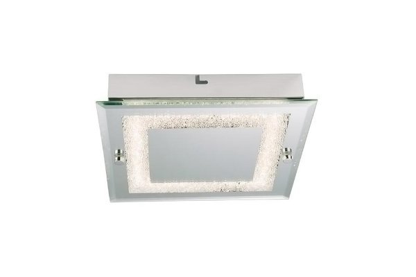 Plafon Quality Iluminação QPL911 Lustre Quadrado VIDRO 1XLED 12W 720LM 4000K 25X25X5,6CM Sala Quarto e Cozinha