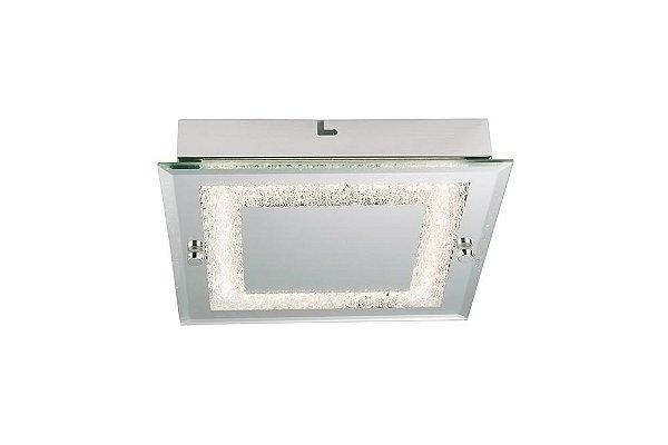 Plafon Quality Iluminação QPL912 Lustre Quadrado VIDRO 1XLED 18W 1080LM 4000K 35X35X5,6CM Sala Quarto e Cozinha