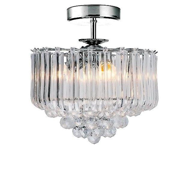 Plafon Quality Iluminação QPL926 Lustre Quadrado Cristal Translucido 5XE14 40W Ø40CM Sala Quarto e Cozinha