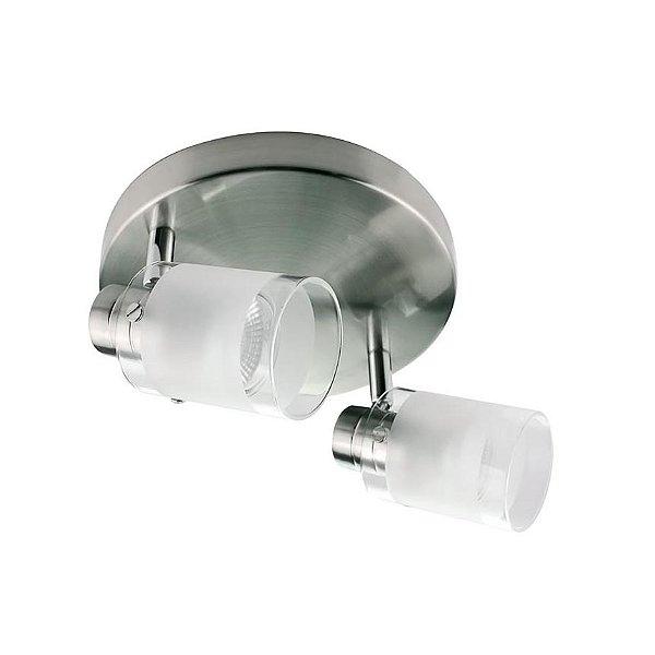 SPOT Quality Iluminação QSP924 Alumínio VIDRO AÇO ESCOVADO 2XGU10 31,5X12X12CM
