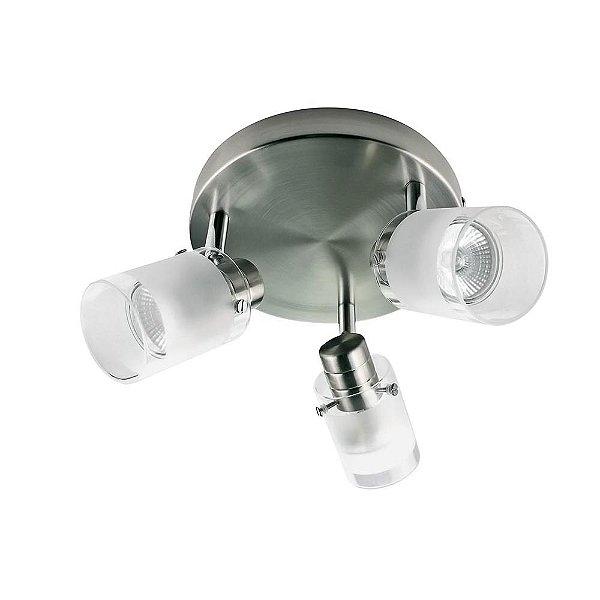 SPOT Quality Iluminação QSP925 Alumínio VIDRO AÇO ESCOVADO 3XGU10 50,8X13X13,5CM