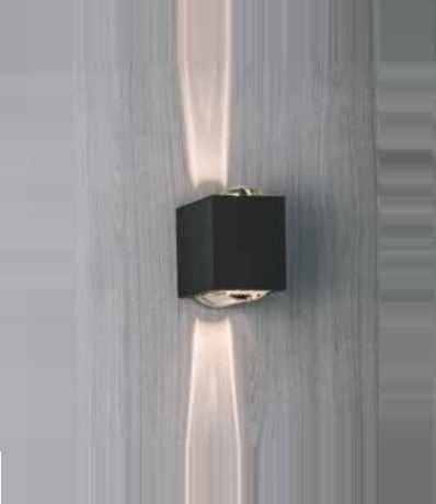 Arandela Newline Iluminação Lens LED Duplo Facho Metal Quadrado 10x15cm 2x PCI LED 6W SNT026LED1PT Parede Muro Banheiro Sala