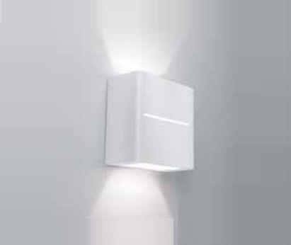 Arandela Newline Iluminação New Trace Ambiente Externo Quadrada Sobrepor Metal 10x5cm 2x PCI LED 6W 9584LED1BT Parede Muro Banheiro Sala