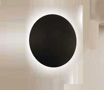 Arandela Newline Iluminação Pleine Lune Redonda Sobrepor Acrílico 9x26,2cm 1x E27 25W Bivolt 110v 220v IN40022PT Parede Muro Banheiro Sala