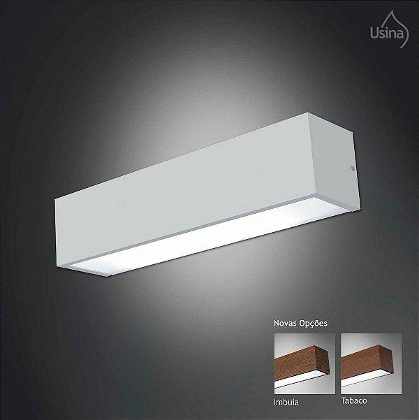 Arandela Usina Design Branca Retangular Metal Fosco Luz Frontal 12x24 Tropical E-27 4010/24 Escritórios Salas