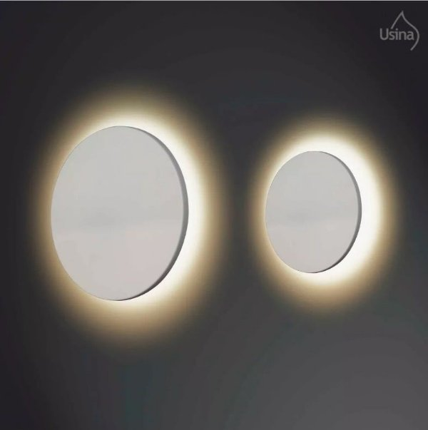 Arandela Usina Design Interna Redonda Reta Metal Fosco Branco Ø35 Eclipse E-27 249/35 Escadas Quartos