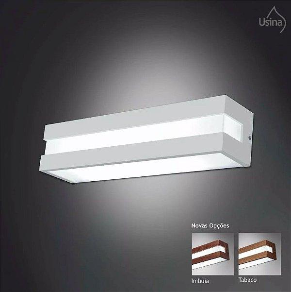 Arandela Usina Design Interna Retangular  acrílico leitoso Leitoso Listrada 10x62 Modular E-27 3810/62 Banheiros Lavabos Escadas