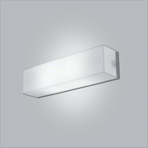 Arandela Usina Design Interna Retangular Branca Tecido Cristal Luz Frontal 31cm Polar E-27 10110/31 Quartos Salas