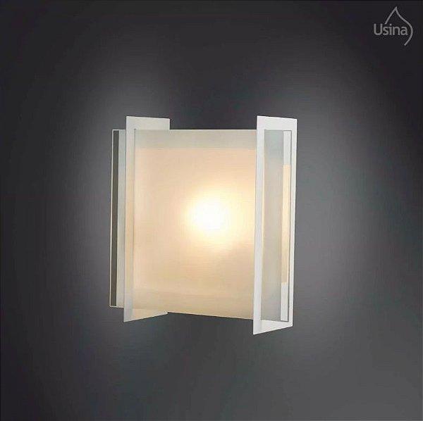 Arandela Usina Design Quadrada Interna Metal Vidro Temperado 17x30 E-27 168/1 Quartos Salas