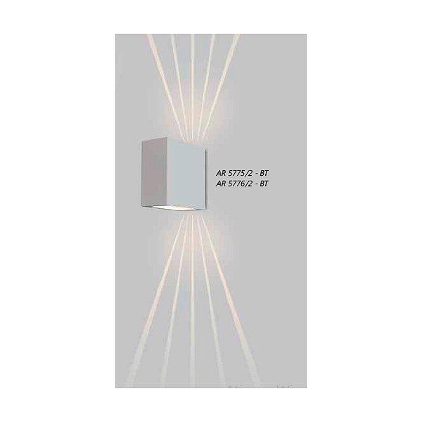 ARANDELA Usina Design QUADRADA LENTE FRISADA 5776/2 Sala Estar Banheiros Lavabos Quartos 2xPCI LED 5W 110 220V 90X180X180