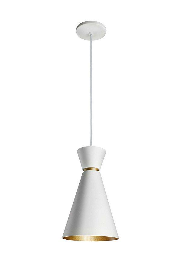 Pendente Newline Iluminação Bambola Funil Conico Alumínio Branco 30,5x18cm Lâmpada E27 25W Bivolt 110v 220v 151BTDO Sala de Jantar Quarto e Cozinha