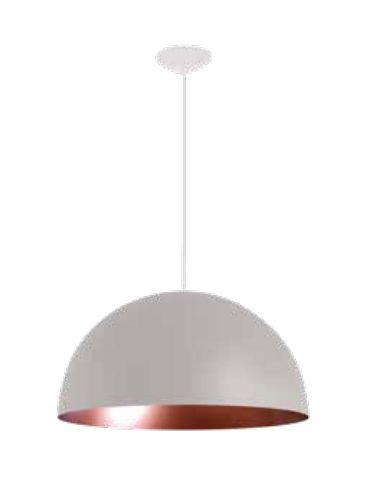 Pendente Newline Iluminação Domus 1/2 Esfera Redondo Metal Branco 20x40cm 1x E27 25W Bivolt 110v 220v SNT330BTCO Sala de Jantar Quarto e Cozinha