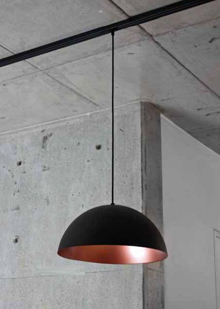 Pendente Newline Iluminação Domus 1/2 Esfera Redondo Metal Preto 20x40cm 1x E27 25W Bivolt 110v 220v SNT330APPTCO Sala de Jantar Quarto e Cozinha