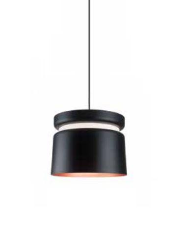Pendente Newline Iluminação Halo Tubo Redondo Metal Preto 28x36,5cm Lâmpada E27 Bivolt 110v 220v 142PTCO Sala de Jantar Quarto e Cozinha