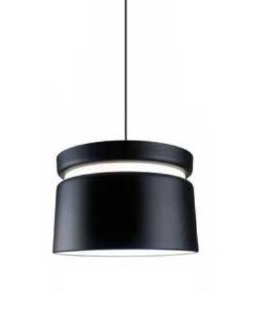 Pendente Newline Iluminação Halo Tubo Redondo Metal Preto 34x50cm Lâmpada E27 Bivolt 110v 220v 143PT Sala de Jantar Quarto e Cozinha