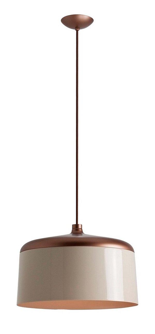 Pendente Newline Iluminação Hut Bacia Redondo Metal Bege Cobre 23,5x35cm Lâmpada E27 25W 132NDPB Sala de Jantar Quarto e Cozinha