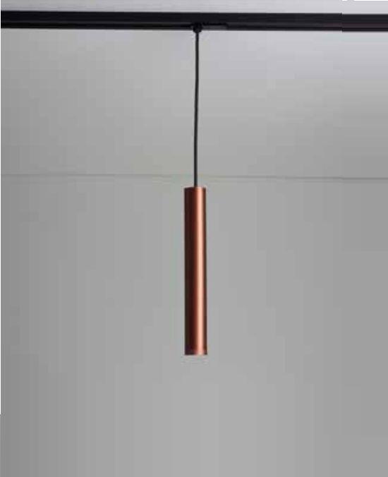 Pendente Newline Iluminação Lisse II Tubo Pendurado Metal Cobre 31,5x4cm 1x GU10/ GZ10 LED 420APCOCO Sala de Jantar Quarto e Cozinha